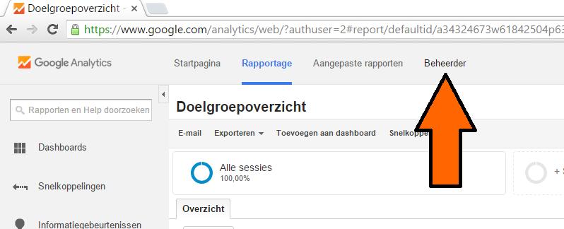 beheerder selecteren in google analytics