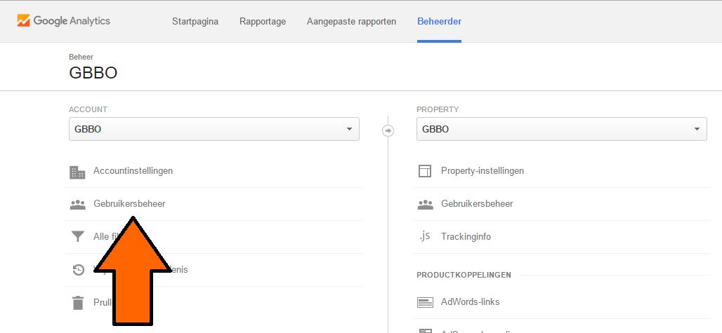 gebruikersbeheer selecteren in Google Analytics