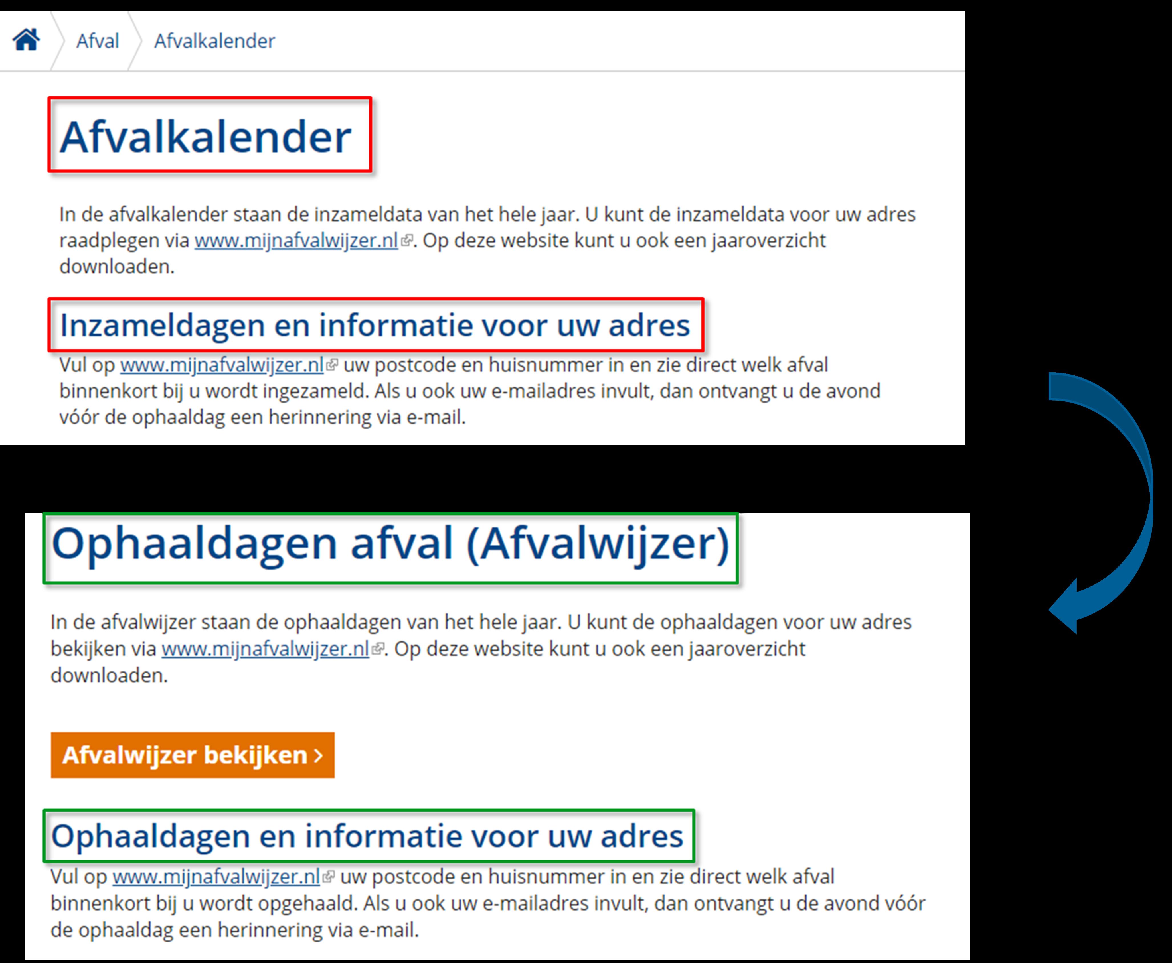 Website optimalisatie afvalkalender paginatitel oude vs. nieuwe situatie